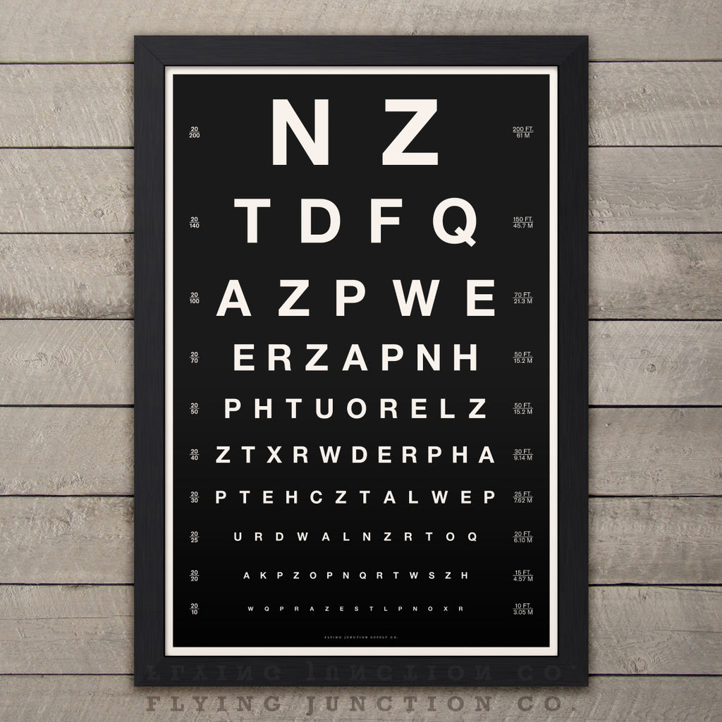 Vintage Design Eye Chart Poster - Black