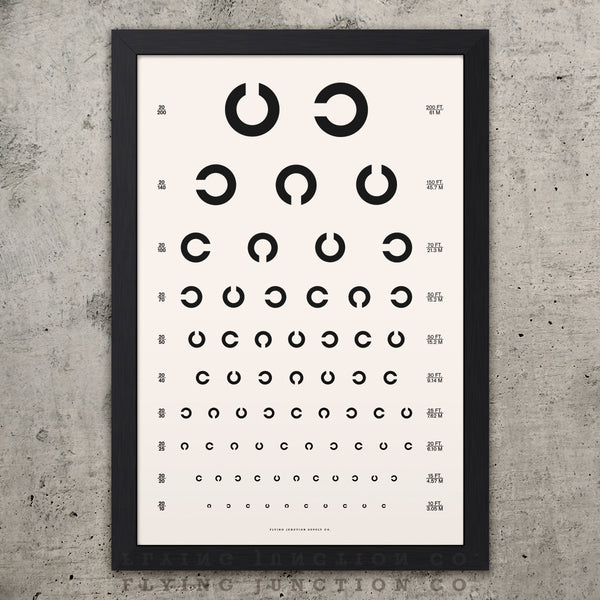 Tumbling C Eye Chart Poster - Black
