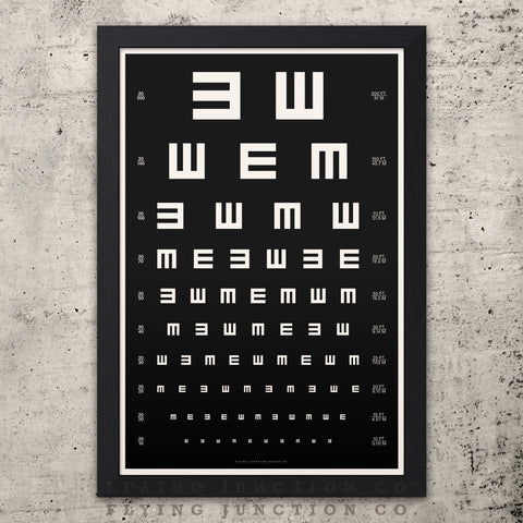 Tumbling-E Eye Chart Poster - Black
