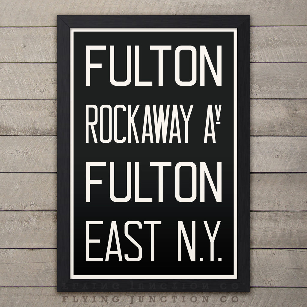 "Brooklyn (Fulton / Rockaway) New York Subway Roll Sign Print - 12"" x 18"""