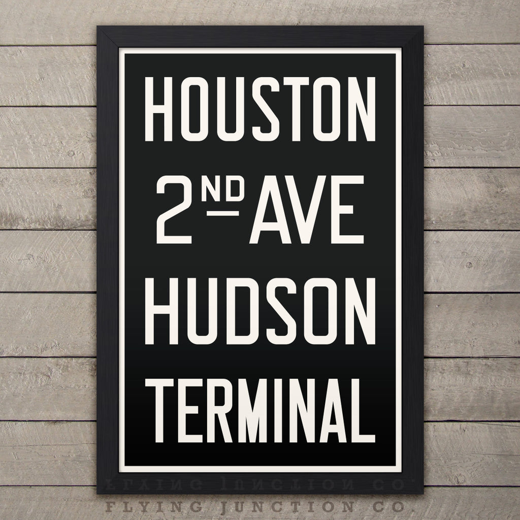 "Manhattan (Houston) New York Subway Roll Sign Print - 12"" x 18"""