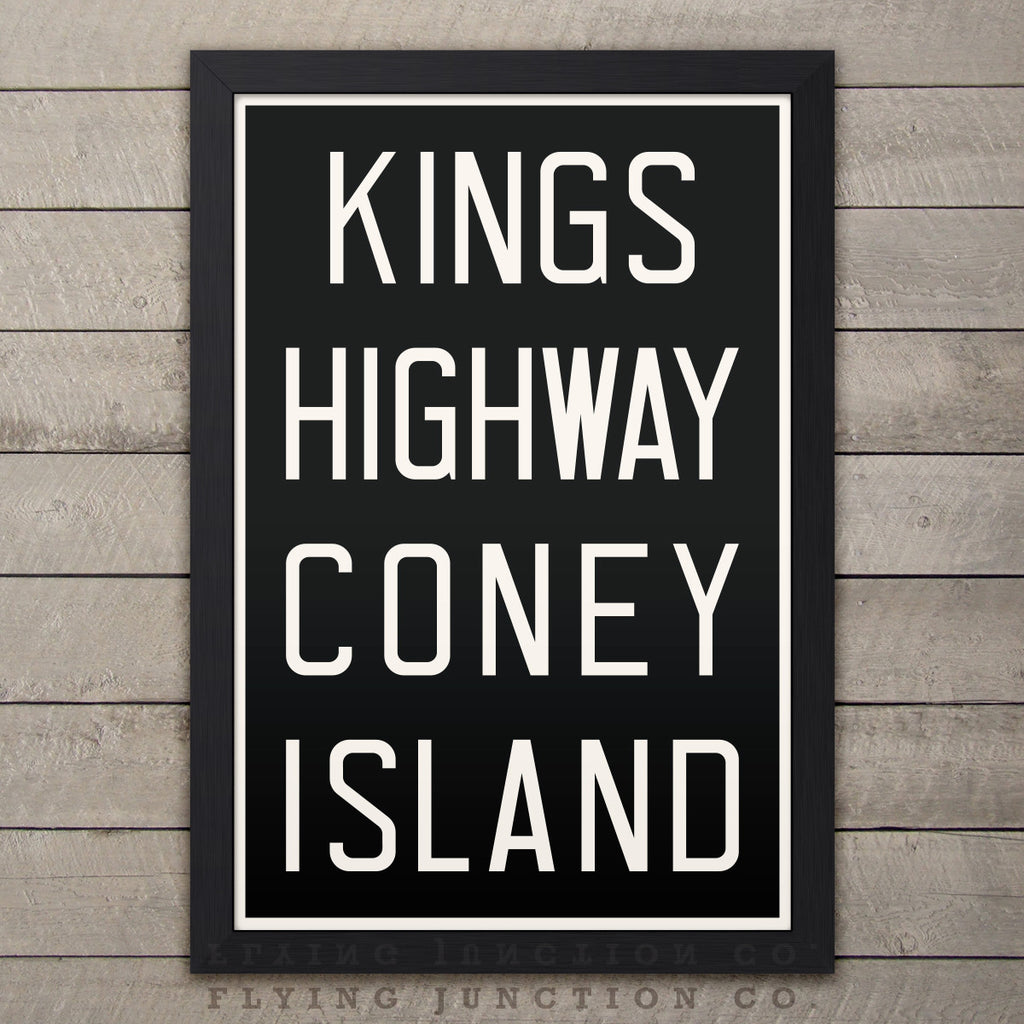 "Kings Hwy / Coney Island New York  Subway Roll Sign Print - 12"" x 18"""