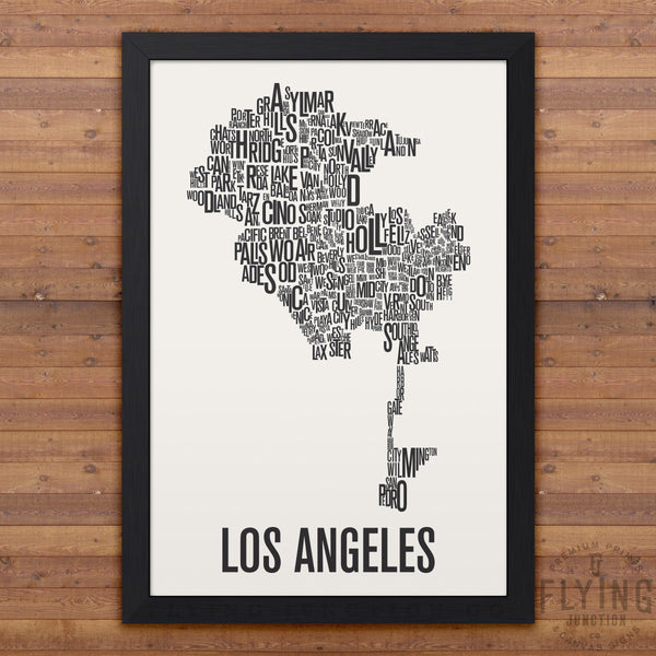 Los Angeles Neighborhood Typography Map - White