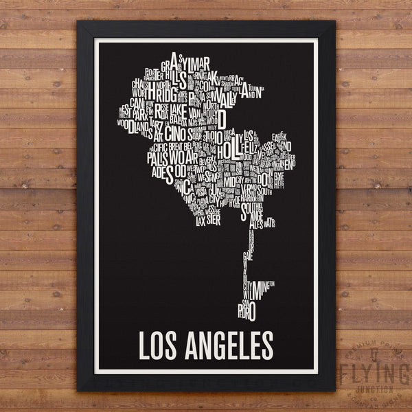 Los Angeles Neighborhood Typography Map - Black