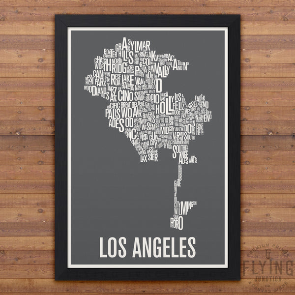 Los Angeles Neighborhood Typography Map - Grey