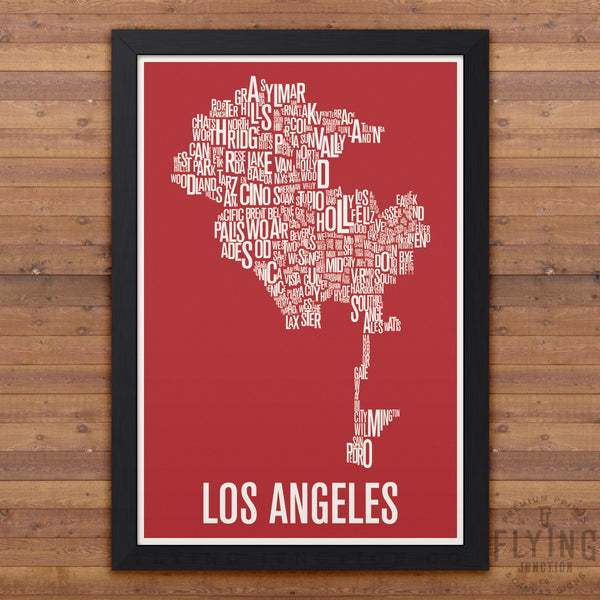 Los Angeles Neighborhood Typography Map - Red