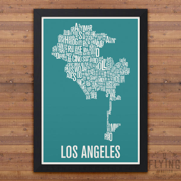 Los Angeles Neighborhood Typography Map - Aqua