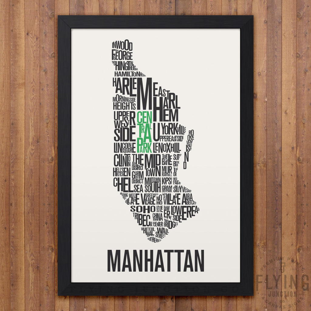 Manhattan Nyc Neighborhod Typography City Map Print Flying