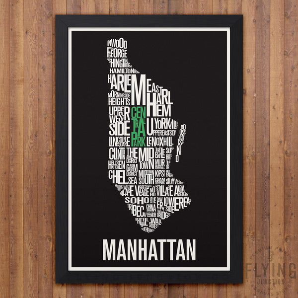 Manhattan Neighborhood Typography Map - Black