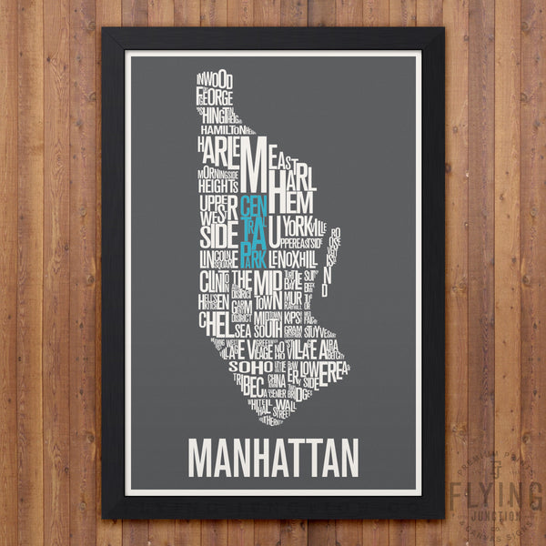 Manhattan Neighborhood Typography Map - Grey