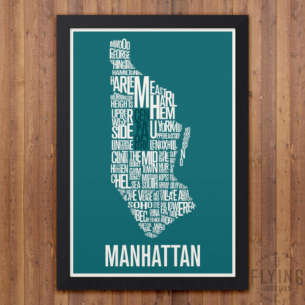 Manhattan Neighborhood Typography Map - Teal