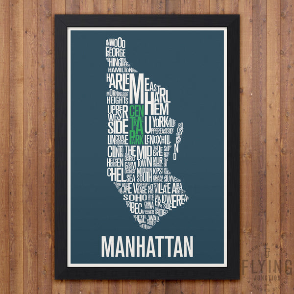 Manhattan Neighborhood Typography Map - Blue