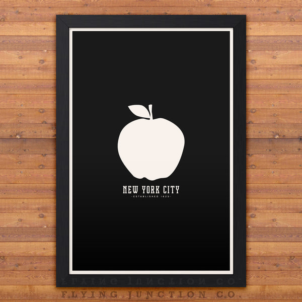New York Minimalist City Poster - Black
