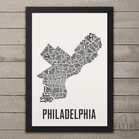 Philadelphia Neighborhood Typography Map - White