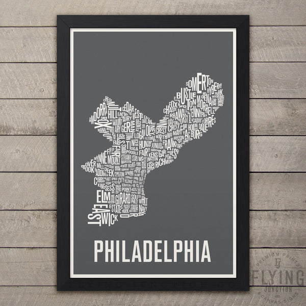 Philadelphia Neighborhood Typography Map - Grey