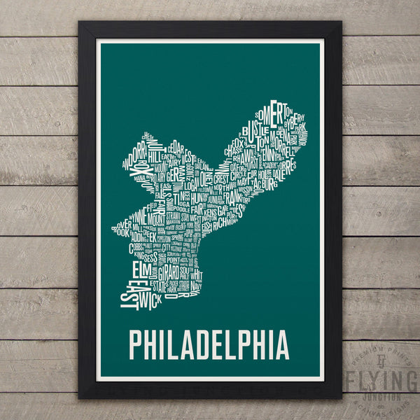 Philadelphia Neighborhood Typography Map - Green