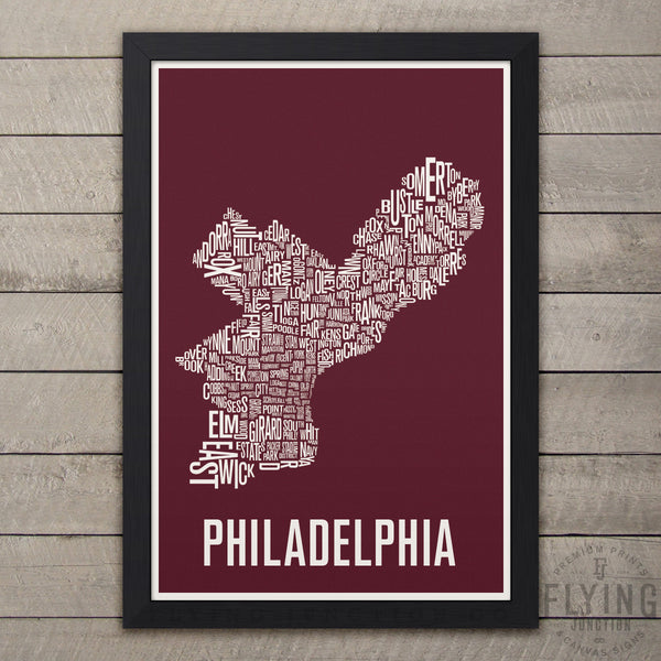 Philadelphia Neighborhood Typography Map - Burgundy