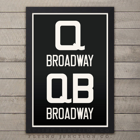"Broadway (Queens / Manhattan / Brooklyn) New York Subway Roll Sign Print - 12"" x 18"""