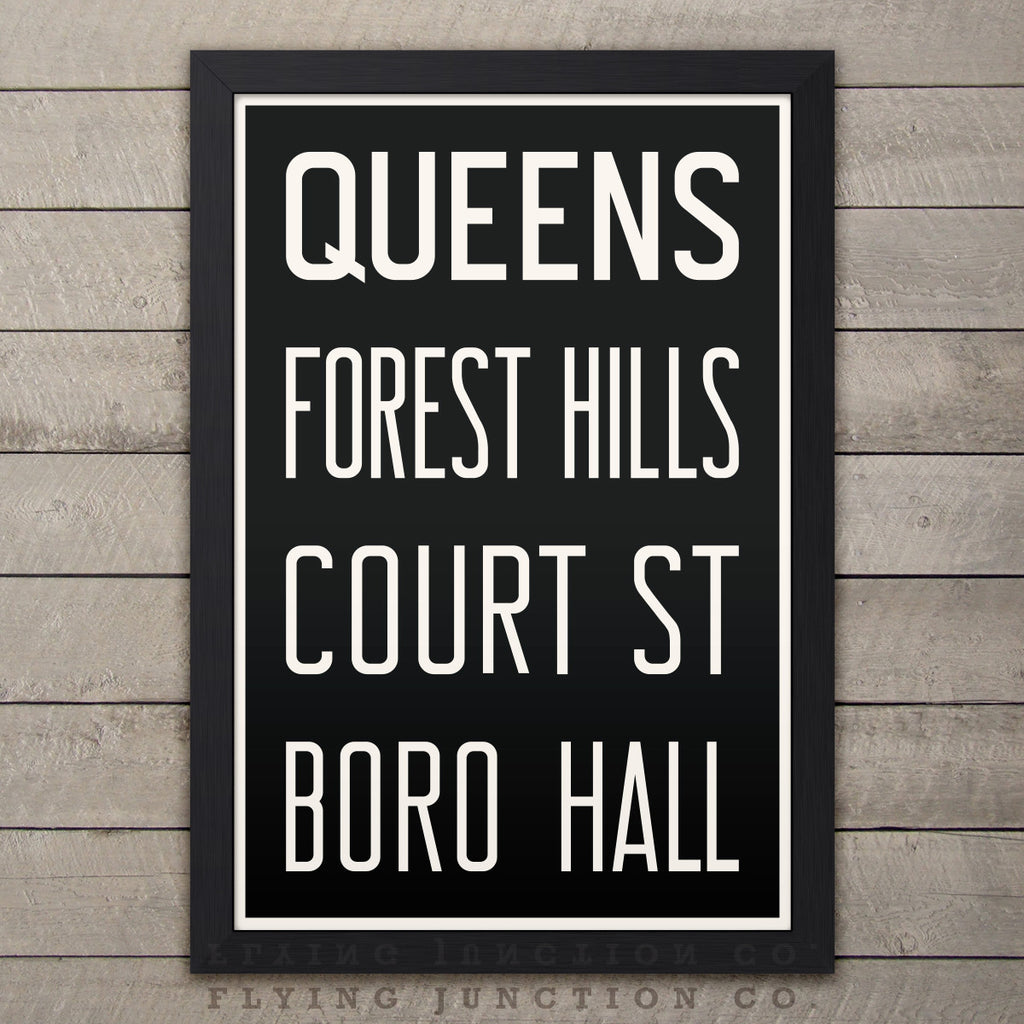"Queens (Forest Hills) New York Subway Roll Sign Print - 12"" x 18"""