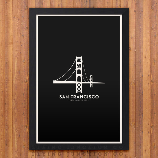 San Francisco Minimalist City Poster - Black