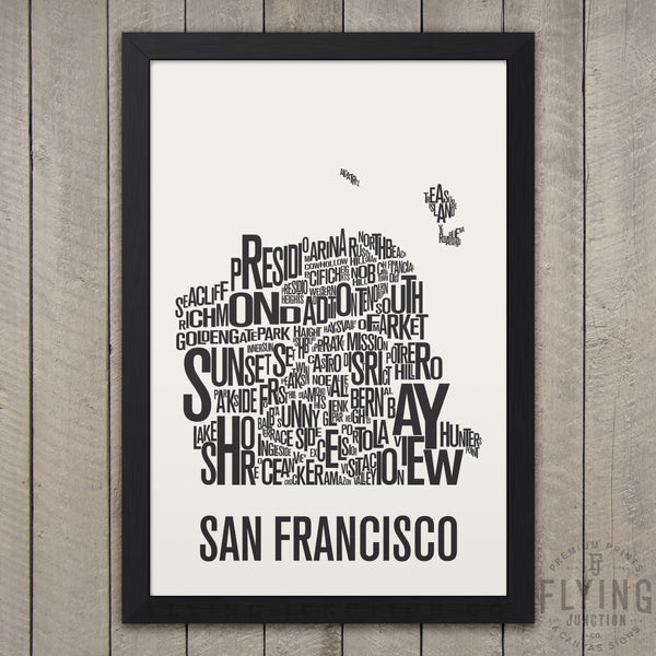 San Francisco Neighborhood Typography Map - White
