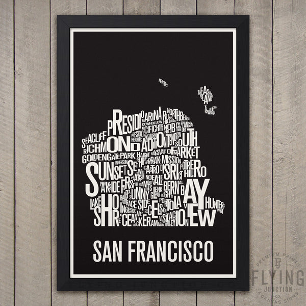 San Francisco Neighborhood Typography Map - Black