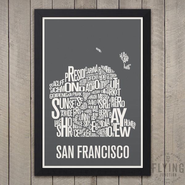 San Francisco Neighborhood Typography Map - Grey