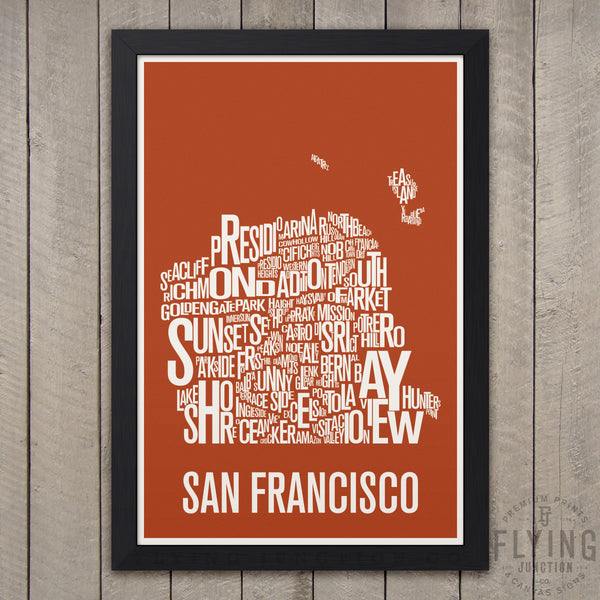 San Francisco Neighborhood Typography Map - Burnt Orange