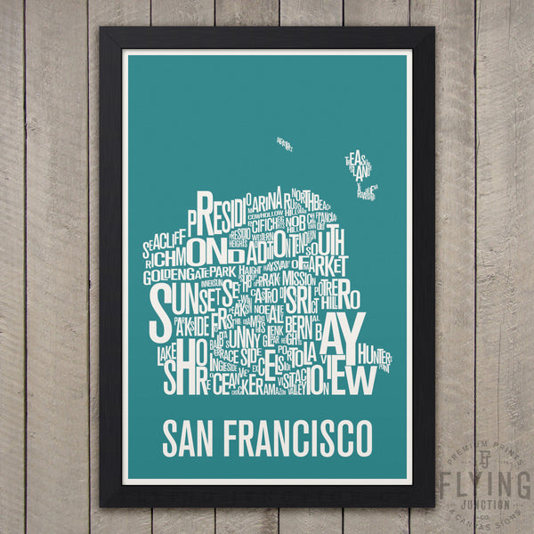 San Francisco Neighborhood Typography Map - Teal