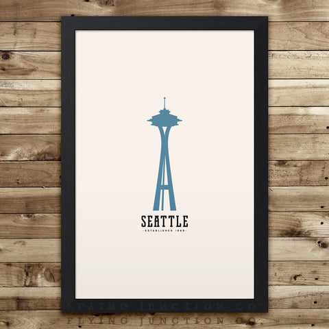 Seattle Minimalist City Poster - Ivory