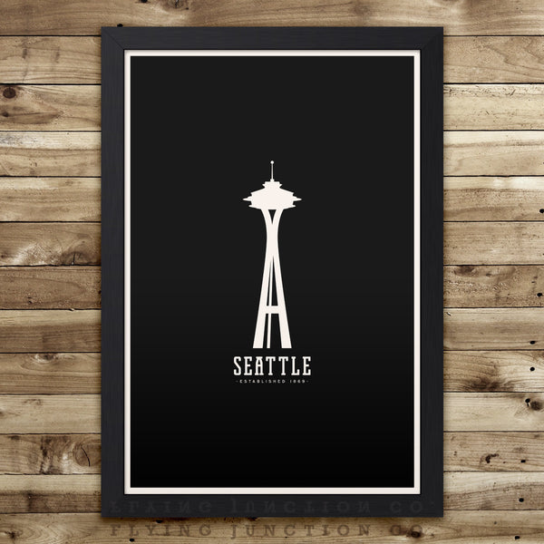 Seattle Minimalist City Poster - Black