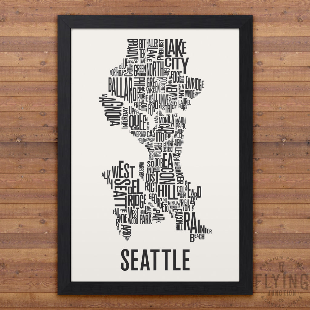Seattle Neighborhood Typography Map - White