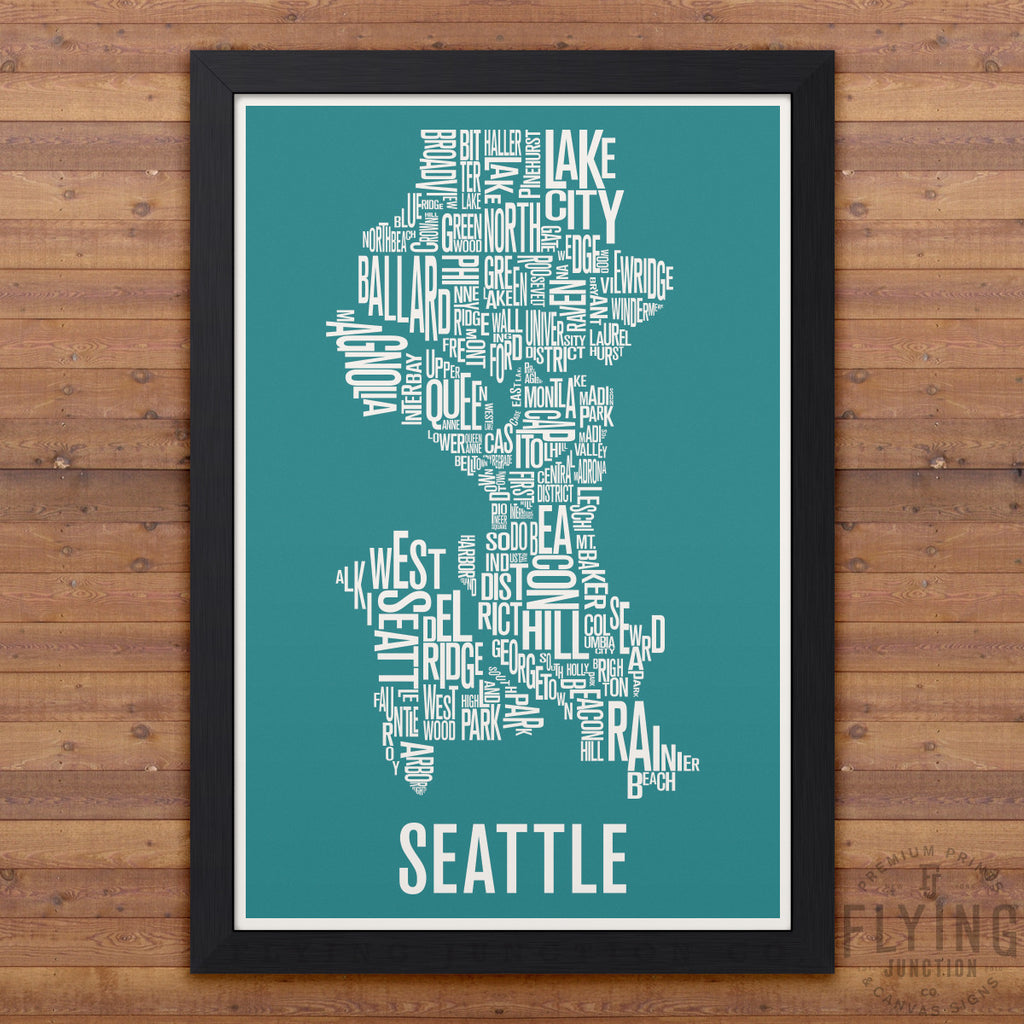 Seattle neighborhod typography city map print flying junction co seattle neighborhood typography map aqua gumiabroncs Image collections
