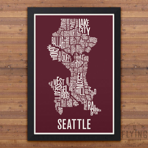 Seattle Neighborhood Typography Map - Burgundy