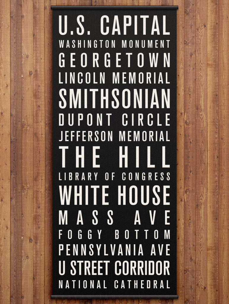 Washington DC Canvas Bus Scroll / Subway Sign