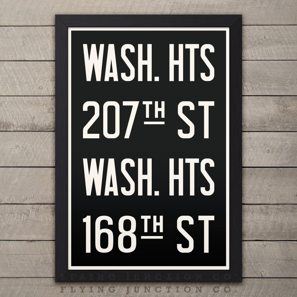 "Manhattan (Washington Heights) New York Subway Roll Sign Print - 12"" x 18"""