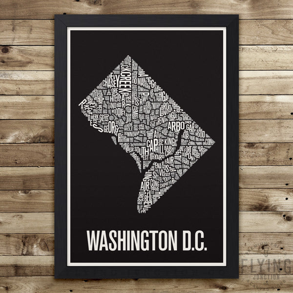 Washington D.C. Neighborhood Typography Map - Black