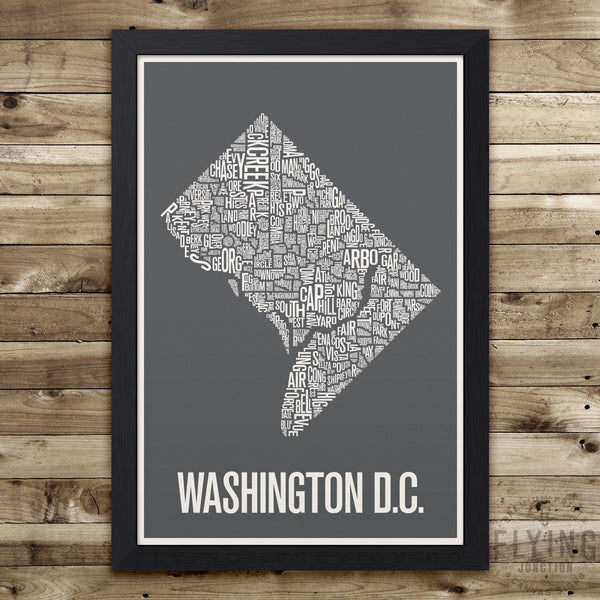 Washington D.C. Neighborhood Typography Map - Grey