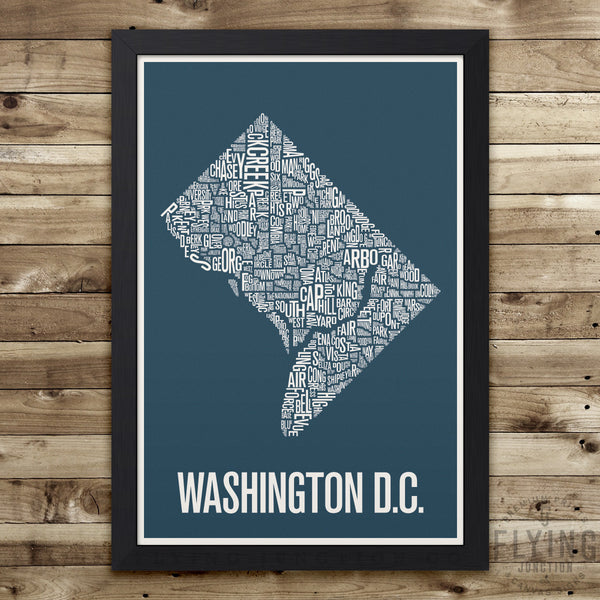 Washington D.C. Neighborhood Typography Map - Blue