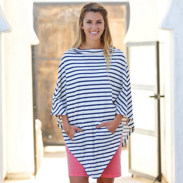 Bateau Nautical Stripe Poncho - milogiftshop