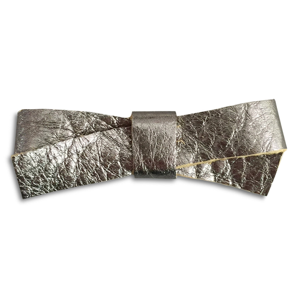 Slim Pewter Metallic Bow - milogiftshop