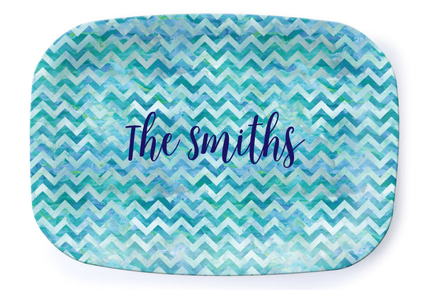Watercolor Chevron Platter