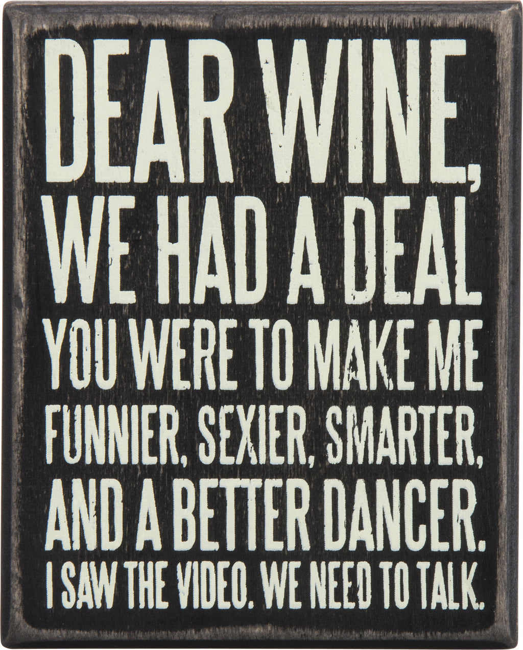 Dear Wine Box Sign - milogiftshop