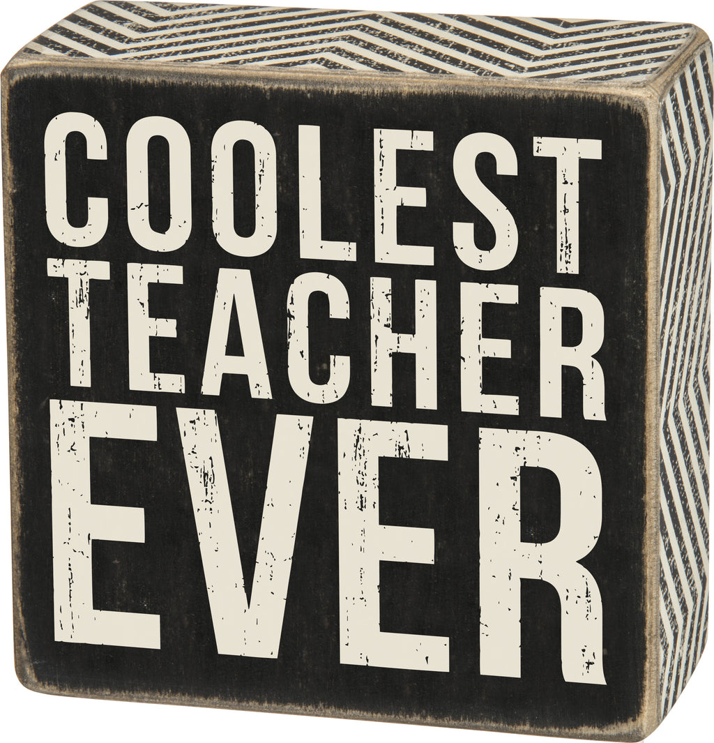 Coolest Teacher Box Sign - milogiftshop