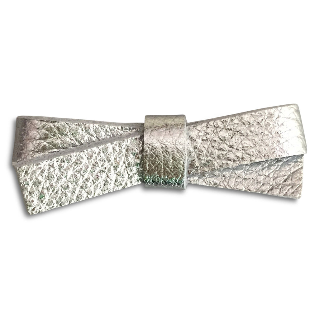 Slim Silver Metallic Bow - milogiftshop