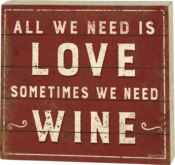 Love and Wine Box Sign