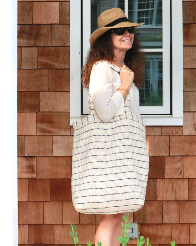 Neutral Stripes Oversized Beach Tote - milogiftshop