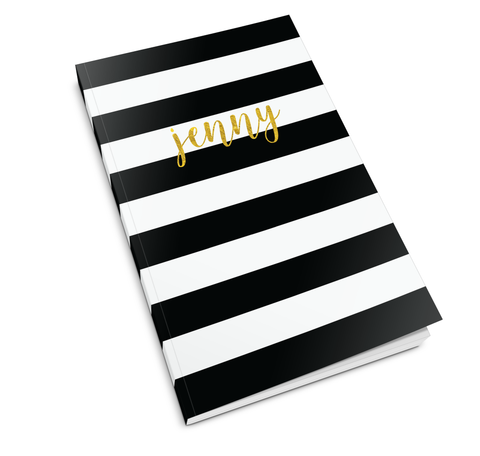 Black White Stripe Journal