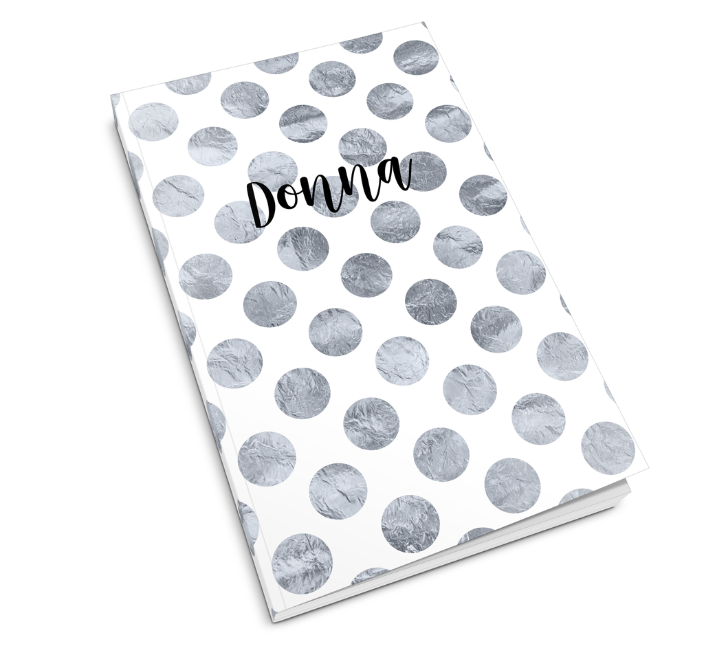 Silver Polka Dots Journal - milogiftshop