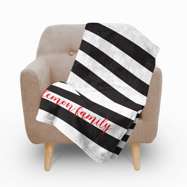 Black Stripes Fleece Blanket - milogiftshop